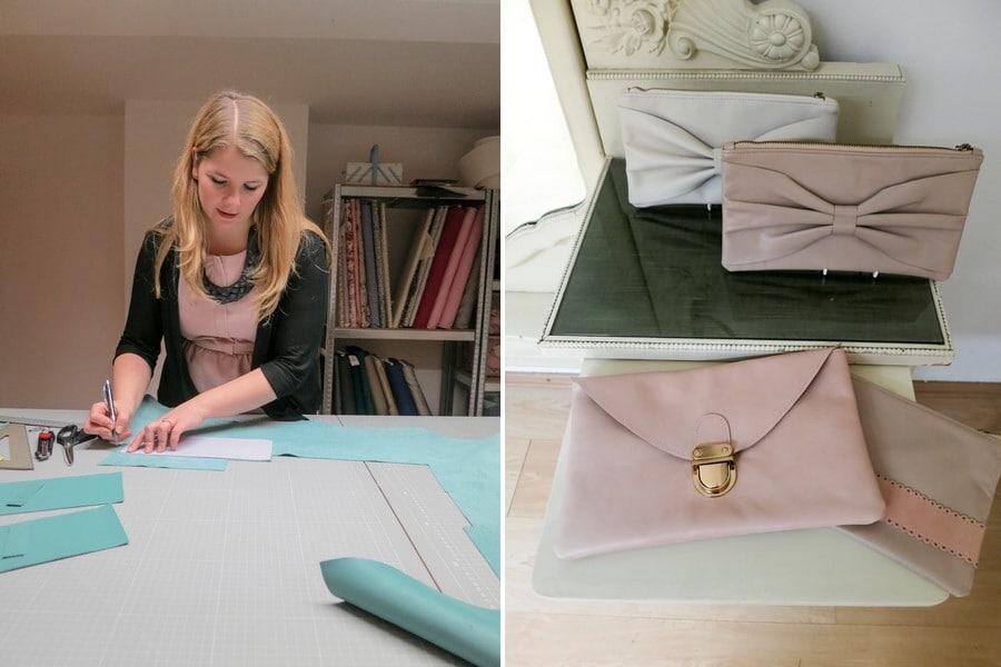 Im Atelier von lille mus in München. Lara Raithel fertigt Hochzeitstaschen und Brautclutches per Hand.