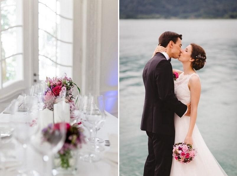 Eine Hochzeit am Tegernsee vor traumhafter Kulisse mit Bergen und dem See. Das Farbkonzept ist ein Muss für alle Fans von Pink und Rosa! Fotografiert von skop, alias Stefan Krovinovic.