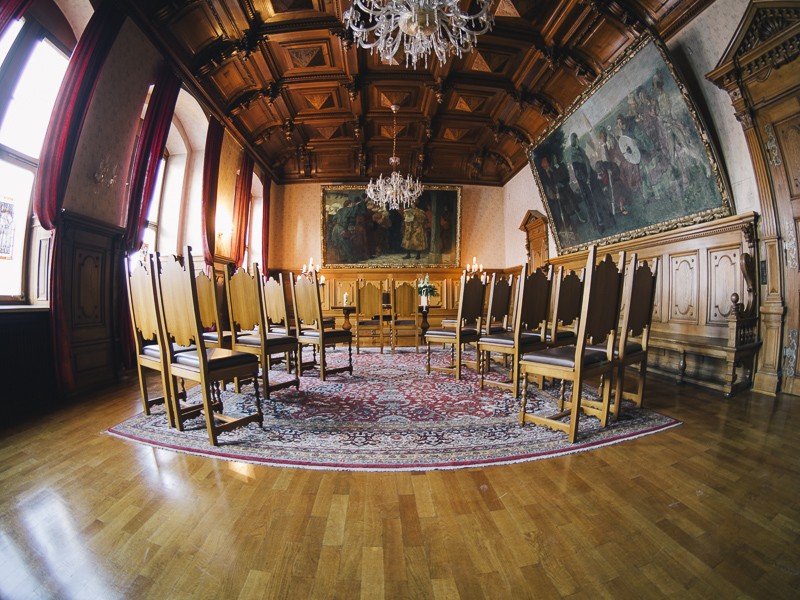 Der Saal zum Heiraten im Standesamt Kaufbeuren. Sicherlich eines der schönsten Standesämter in Bayern.