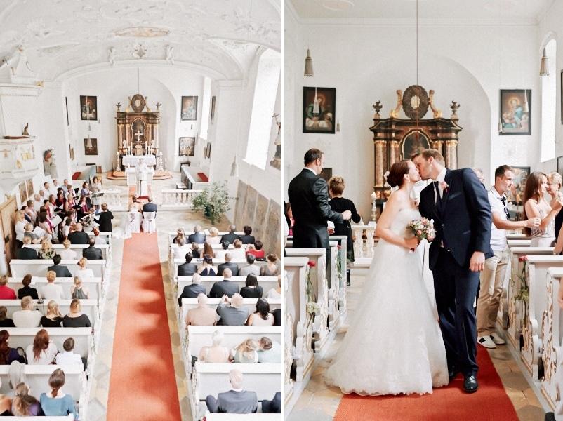 Romantisches Kleid, romantische Location, romantische Deko - eine Traumhochzeit auf Schloss Blumenthal in Aichach von Martin Spörl.