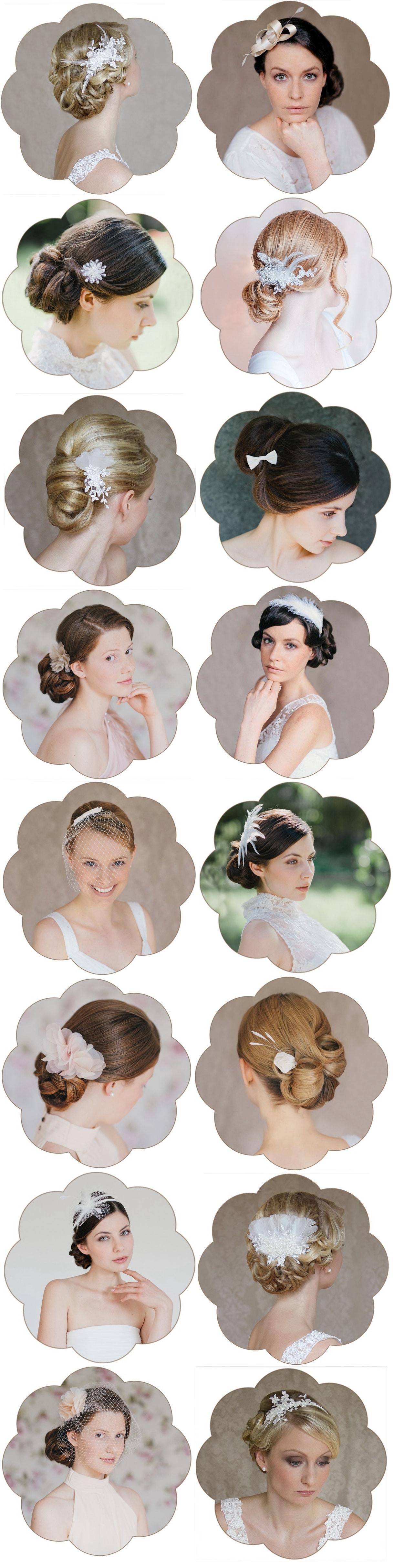 Die schönsten Fascinator, Birdceages, Haarblüten und Haarreifen aus Federn und Spitze von Schönmich Accessoires.