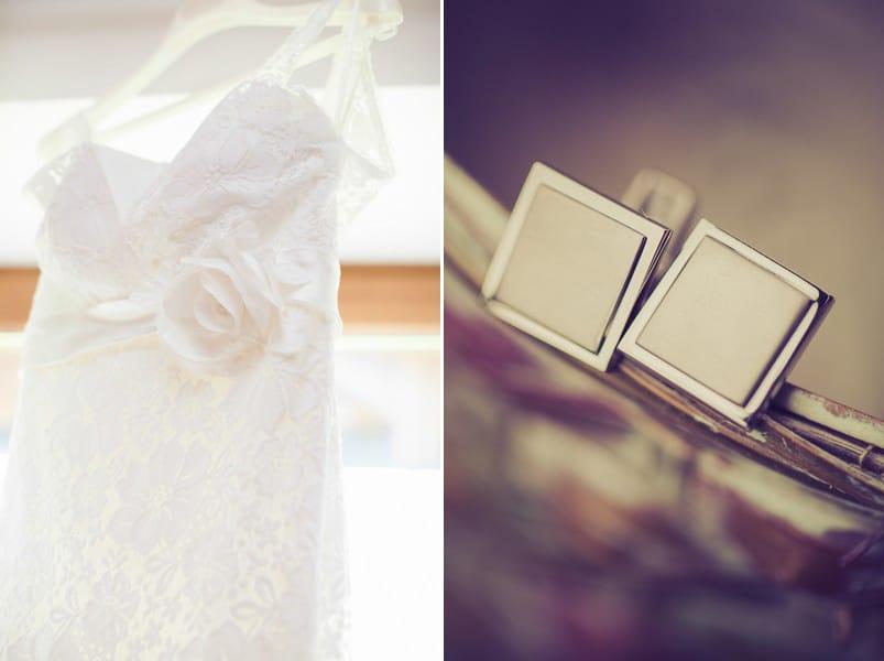 Ein Vintage-Brautkleid und passende Manschettenknöpfe.