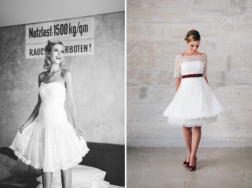 Die schönsten kurzen Brautkleider der Saison 2015 - hier: Kuessdiebraut..