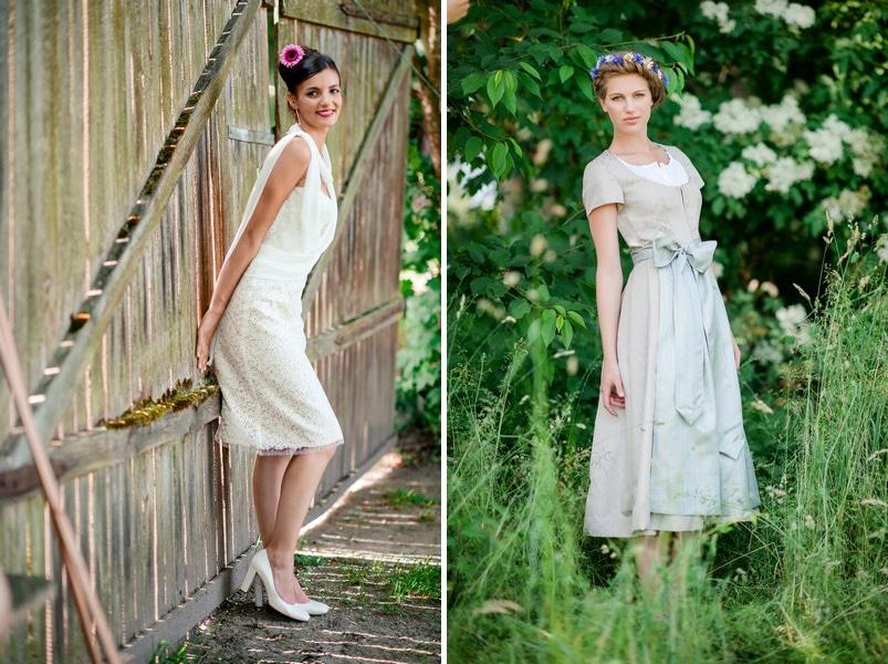 Die schönsten kurzen Brautkleider der Saison 2015 - hier: Therese & Luise..