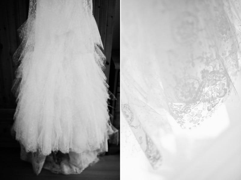 Brautkleid mit Punkten und Spitze von Cymbeline. Gesehen bei einer Hochzeit auf Gut Thurnsberg.