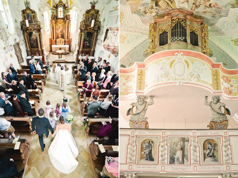 Der Innenraum und die Orgel der Wallfahrtskirche St. Anton in der Hallertau nahe Ingolstadt und Landshut