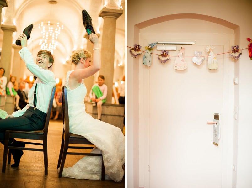 Das Schuhespiel bei einer Hochzeit in Kloster Holzen.