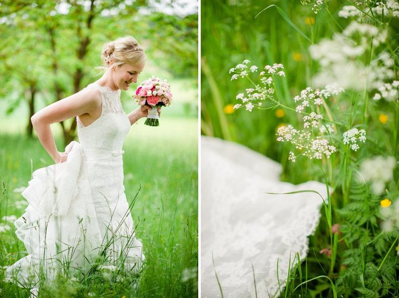 Brautkleid mit Spitze und Schleppe von La Sposa - White One.