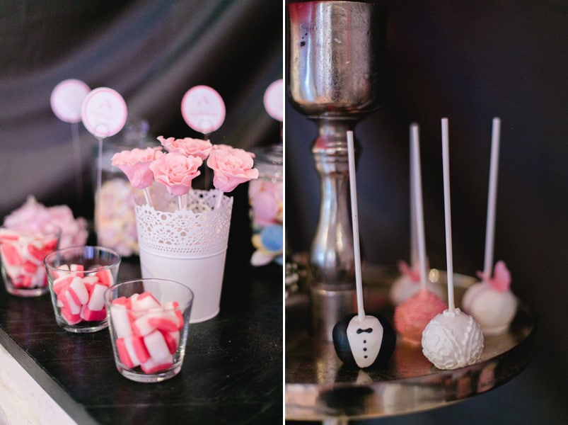 Candybar mit dem Farb-Motto Rosa, Weiß und Schwarz.