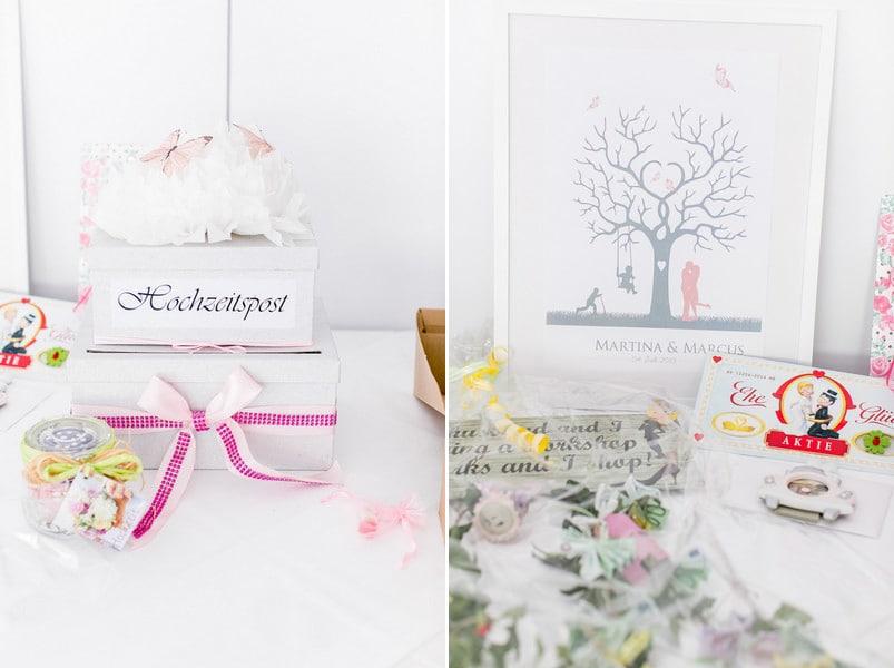 Geschenketisch einer Hochzeit in Rosa.