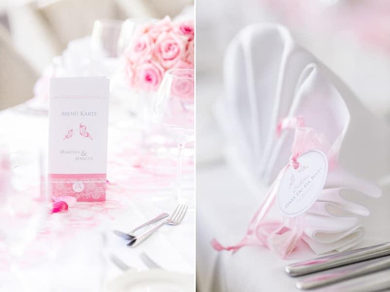 Tischdeko für die Hochzeit in Rosa und Weiß