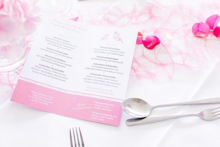 Menükarten Papeterie in Rosa und Weiß
