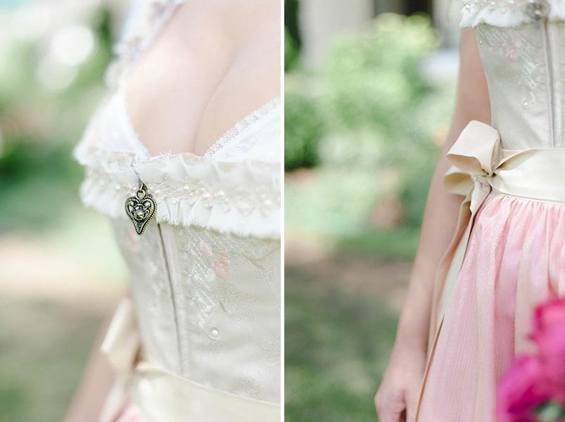 Trachtenhochzeit: Details eines Brautdirndls