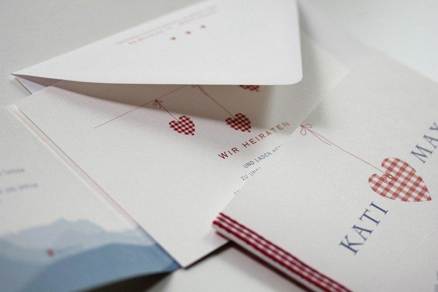 Hochzeitseinladung Bayerisch Herz Vichy Herz