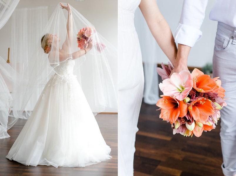 brautstrauss-amaryllis-orange-rosa