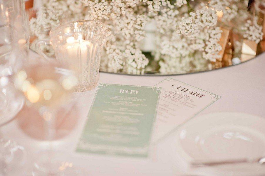 Menukarte für eine Hochzeit im Stil der 20er Jahre