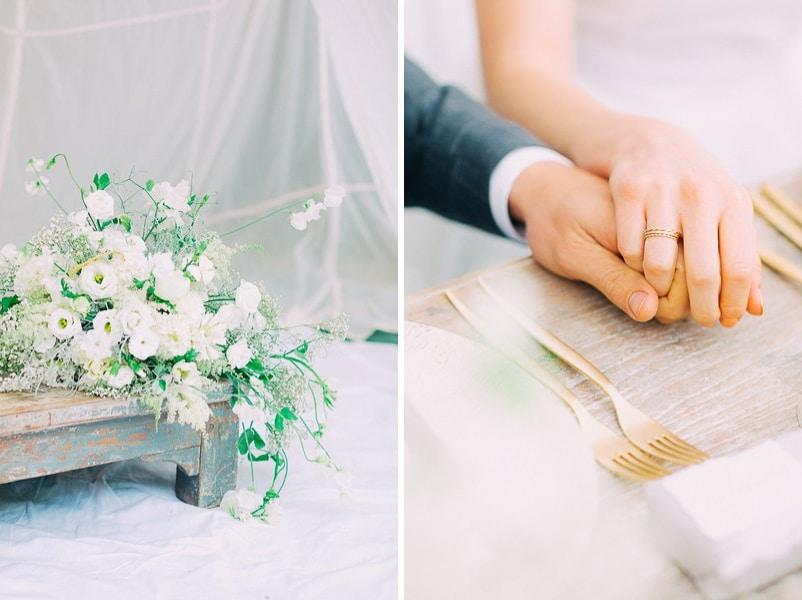 Ein Brautstrauss ganz in Weiß