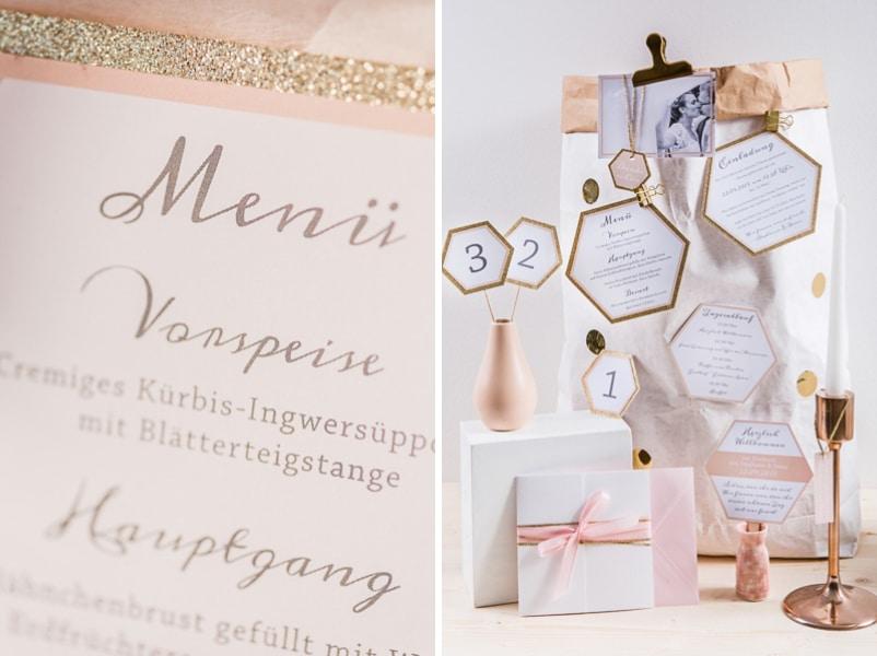 Hochzeitseinladung in den Tönen Gold, Blush, Pfirsich, Rosa und Weiß von Farbgold München.