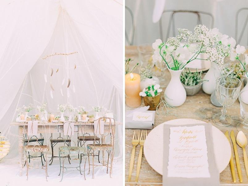 Tischdeko für eine Hochzeit in Weiß, Gold, Grau und Beige mit Federn