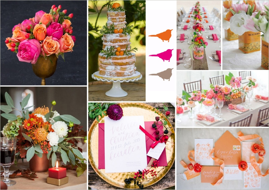 Moodboard in Pink, Orange, Natur