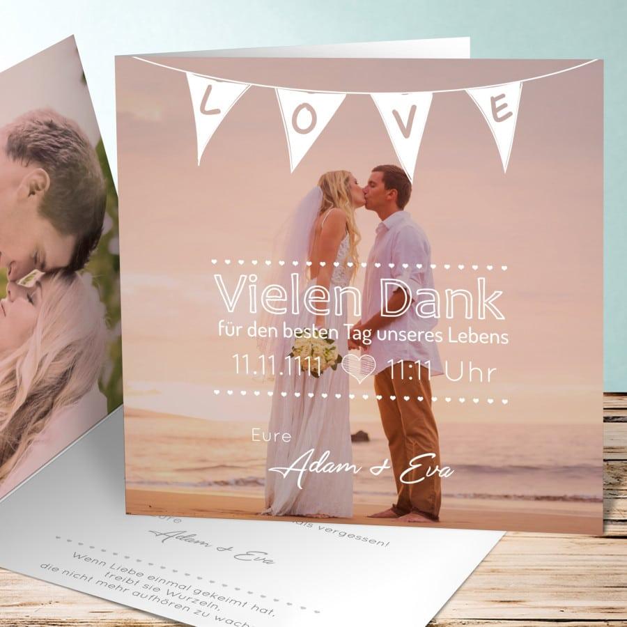 Dankeskarte zur Hochzeit im Vintage-Stil mit Wimpel