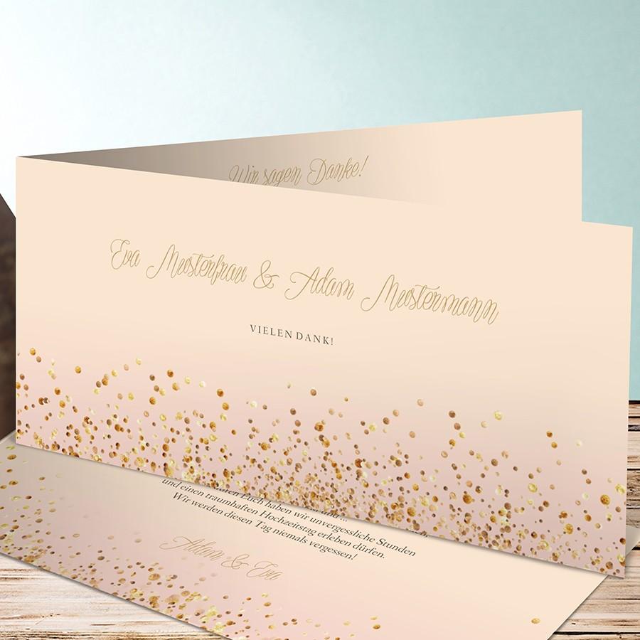 Dankeskarte zur Hochzeit in Gold und Glitter-Optik