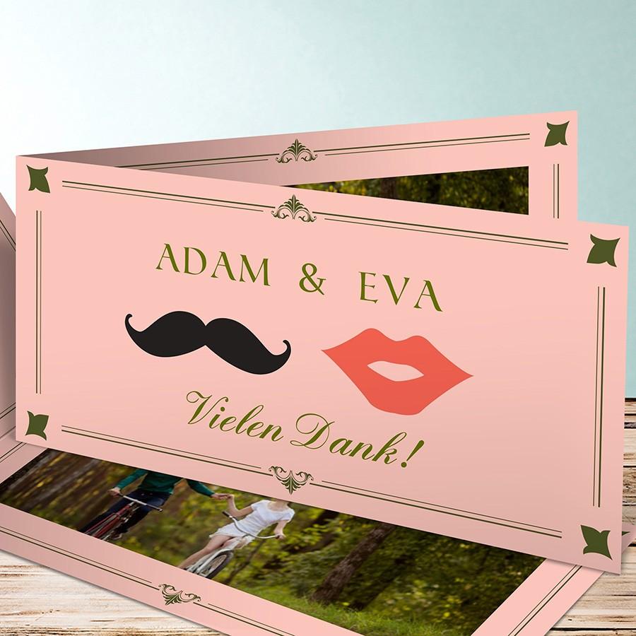 Dankeskarte zur Hochzeit mit mustach Optik