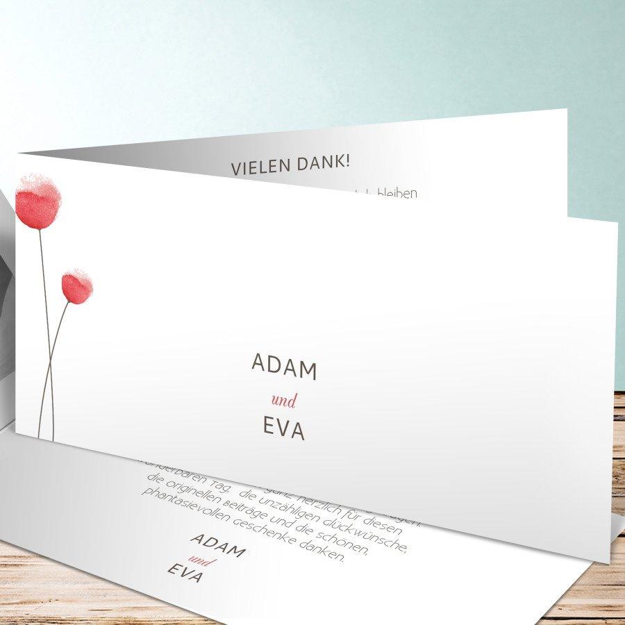 Dankeskarte zur Hochzeit mit Mohnblumen