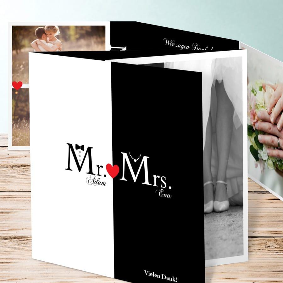 Dankeskarte zur Hochzeit im Retro Stil in schwarz-weiß