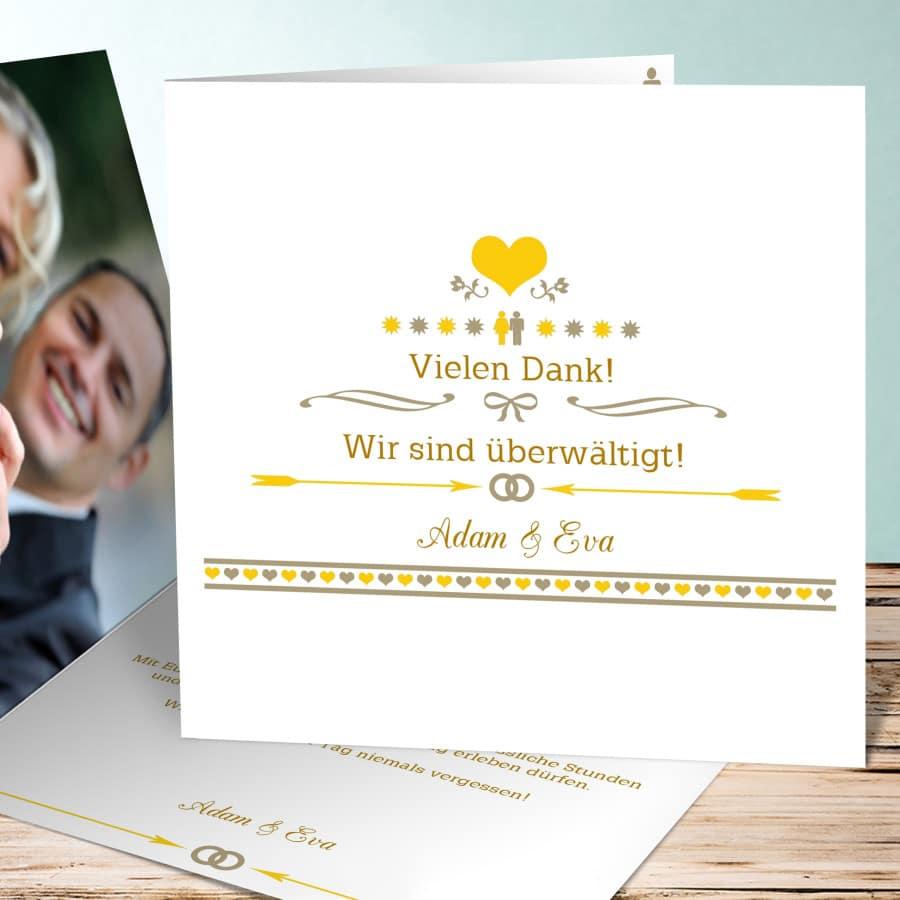 Dankeskarte zur Hochzeit im Retro Stil in gelb-weiß