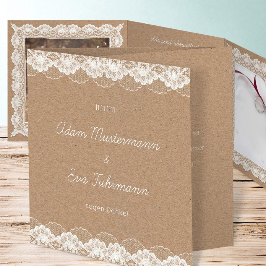 Dankeskarte zur Hochzeit im Vintage-Stil mit Spitze