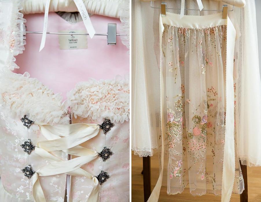 Luxus Brautdirndl in zartem Rosa mit edler bestickter Schürze und Rüschen von Tali Boelt