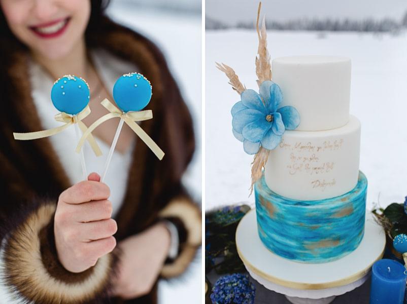 Hochzeitstorte für eine Winterhochzeit in blau, Gold und Weiß