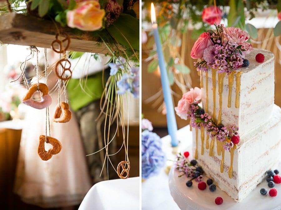 Üppige Boho Hochzeitsdeko mit bayerischen Elementen und einer ausgefallenen Hochzeitstorte