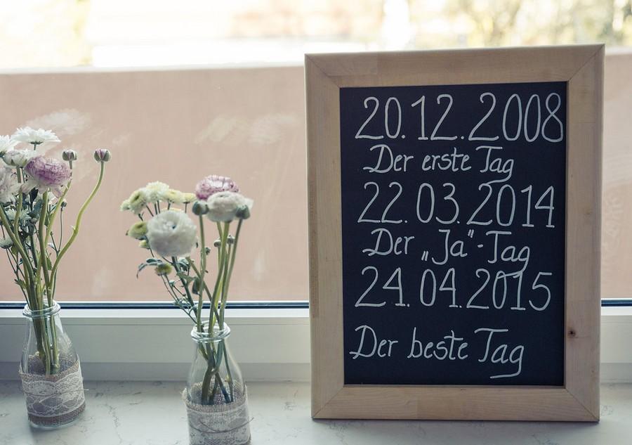 Sprüche auf einer Tafel für eine Hochzeit