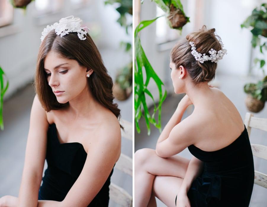 Brautfrisur für lange Haare, offen oder zum Hochstecken, mit edlen Haarschmuck-Accessoires aus Perlen und Blüten von Patricia Vincent aus Wien