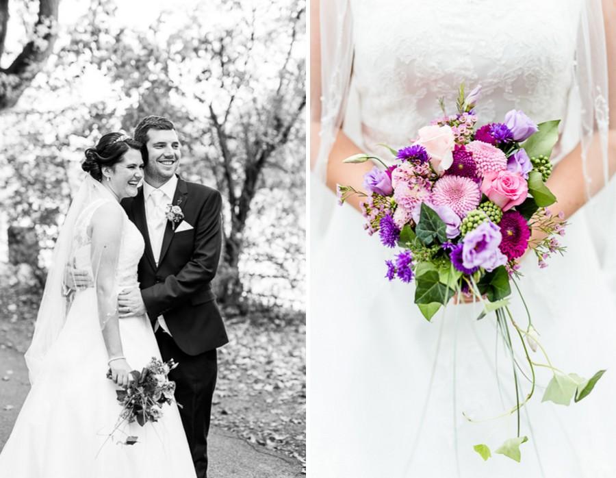 Herbstlicher Brautstrauß in Rosa, Lila und Violett