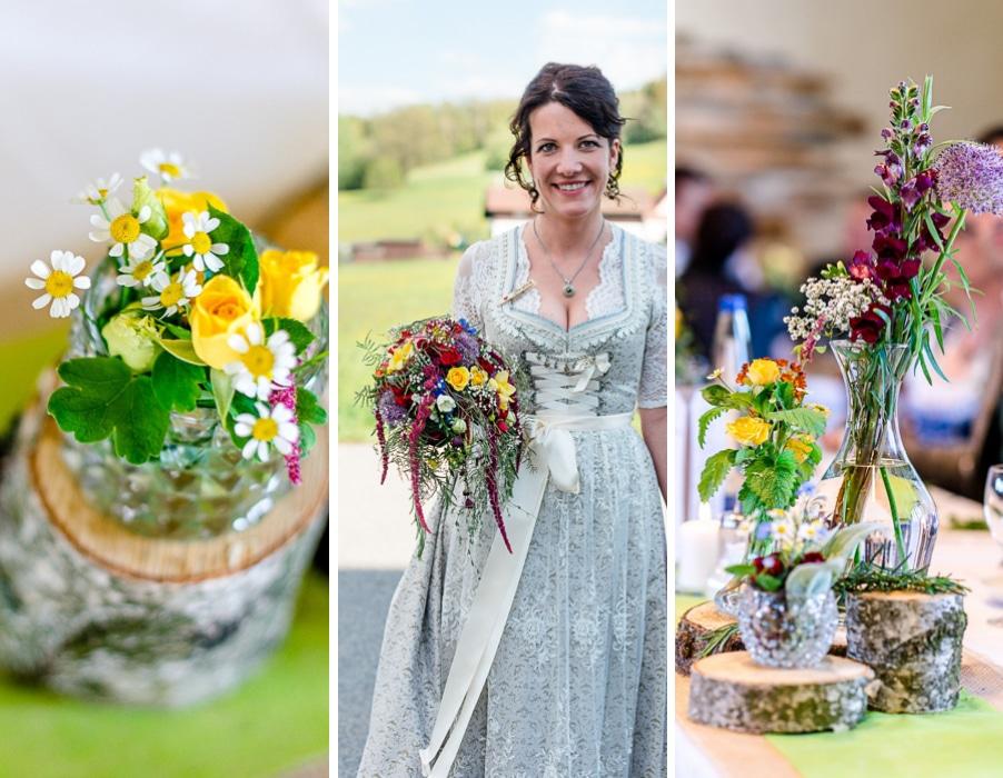 Süße Trachtenhochzeit mit wilder Blumenpracht nahe Straubing
