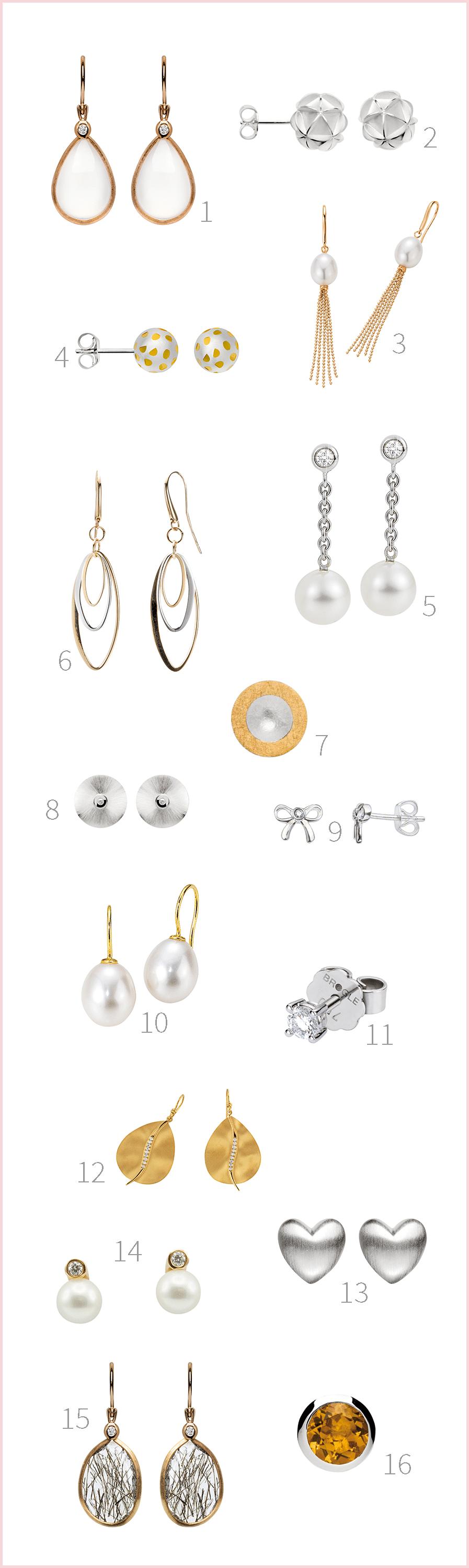 Echter Schmuck als Brautschmuck: Ideen für Ohrringe und Ohrhänger aus Gold, Weißgold und mit Brillianten von Brogle