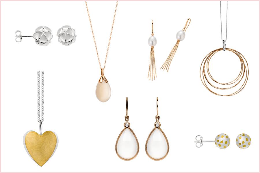 Echter Schmuck als Brautschmuck: Ideen für Anhänger, Ketten Ohrringe und Ohrhänger aus Gold, Weißgold und mit Brillianten von Brogle