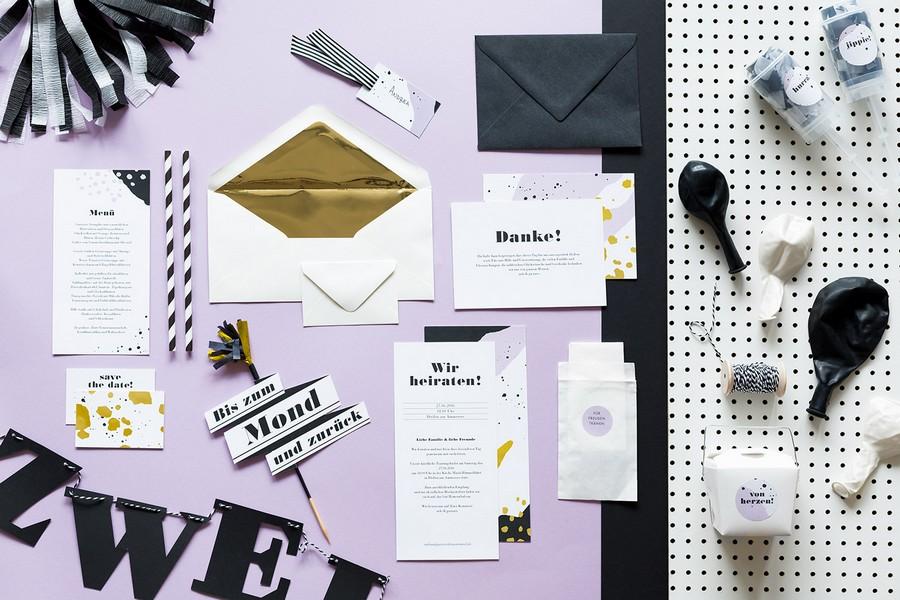 hochzeit-einladung-danke-karten-set-studio-colada-muenchen-retro-schwarz-weiss-modern