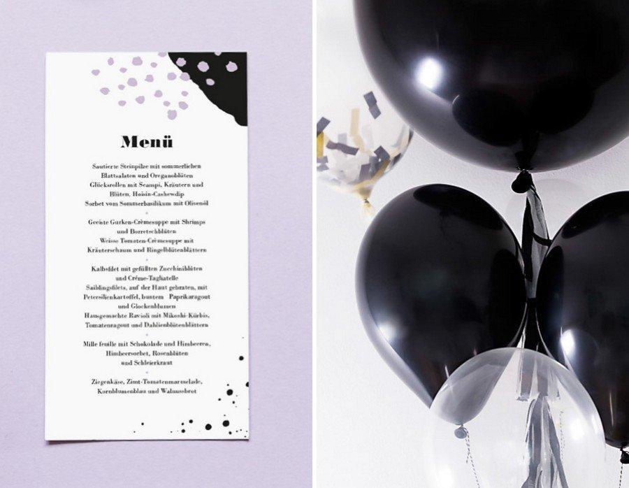 Hochzeits-Menü und weitere Papeterie im Set im Retro-Look in schwarz-weiß von Studio Colada aus München