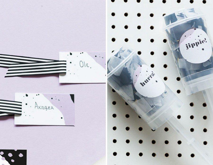Hochzeits-Tischkarten und weitere Papeterie im Set im Retro-Look in schwarz-weiß von Studio Colada aus München