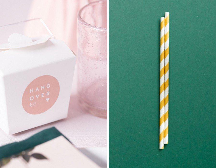 Hochzeits-Einladung und passende Papeterie und Deko im Vintage-Design. Set in Rosa, Gelb, Grün und Weiß von Studio Colada aus München