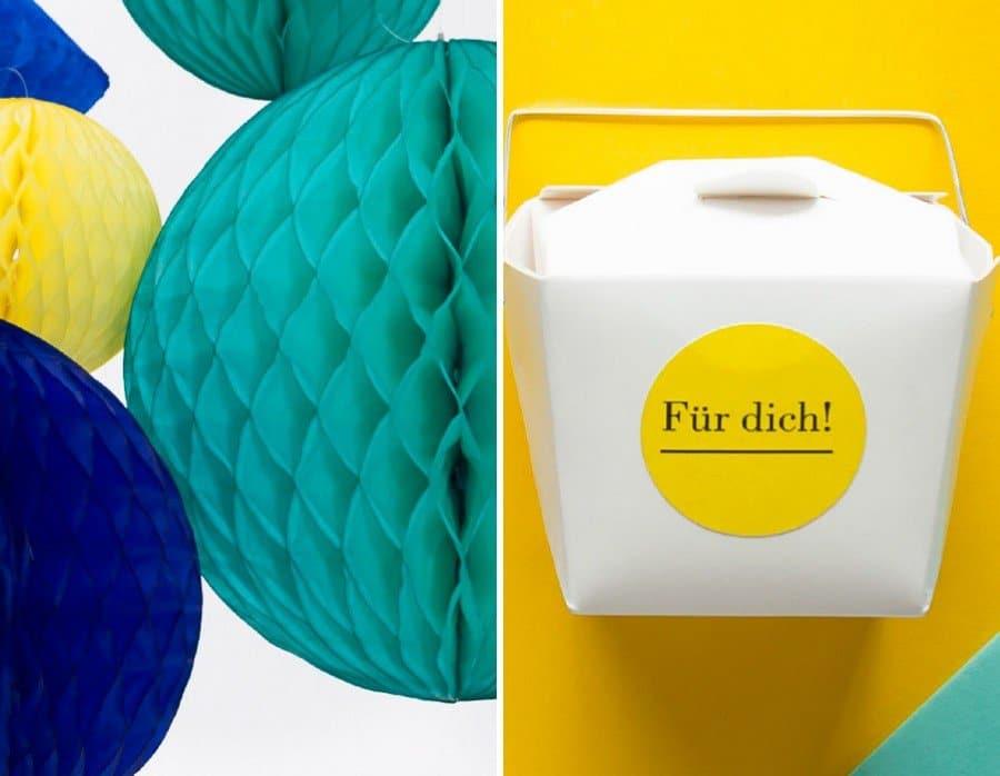 Hochzeits-Gastgeschenk und passende Papeterie und Deko im Set in Blau, Türkis und Gelb von Studio Colada aus München