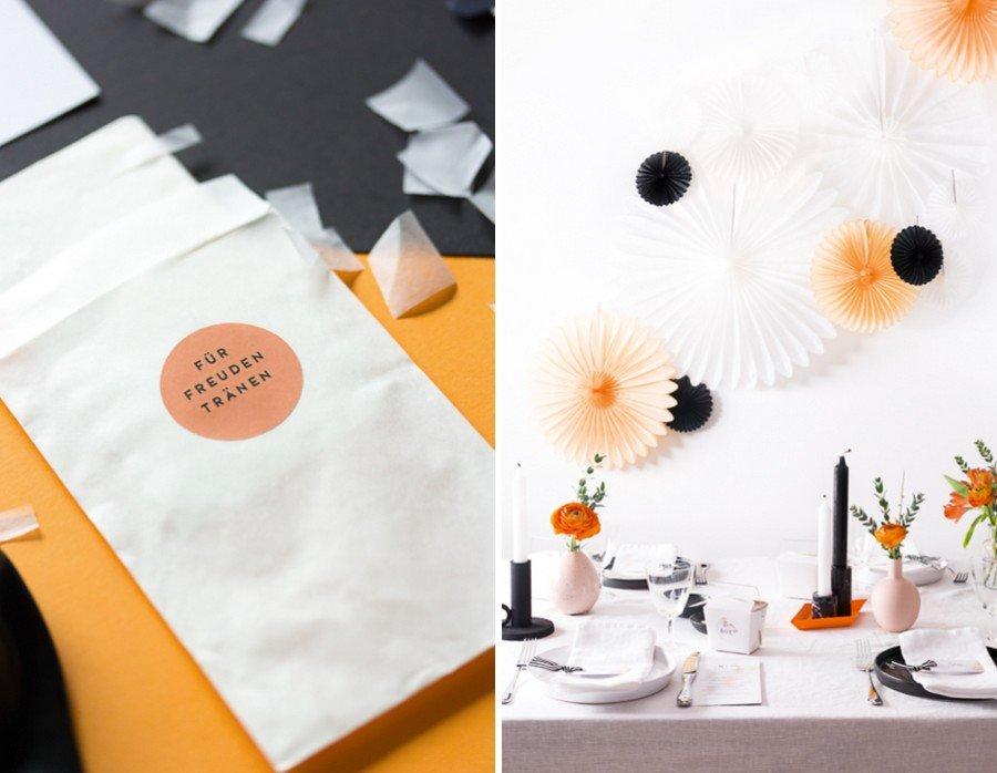 Hochzeits-Deko und passende Papeterie im Set im Retro-Look in schwarz, weiß und Orange von Studio Colada aus München