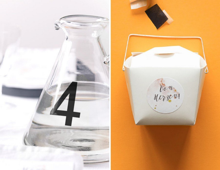 Hochzeits-Gastgeschenk und passende Papeterie im Set im Retro-Look in schwarz, weiß und Orange von Studio Colada aus München