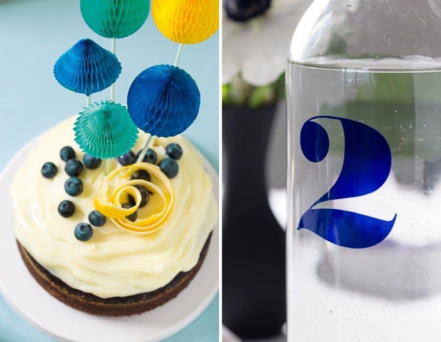 Hochzeits-Caketopper mit Mini-Wabenbällen und passende Papeterie und Deko im Set in Blau, Türkis und Gelb von Studio Colada aus München