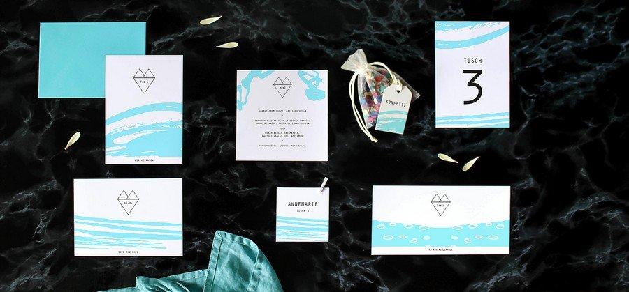 Papeterieset für eure Hochzeit im grafischen Stil mit Türkis und Weiß