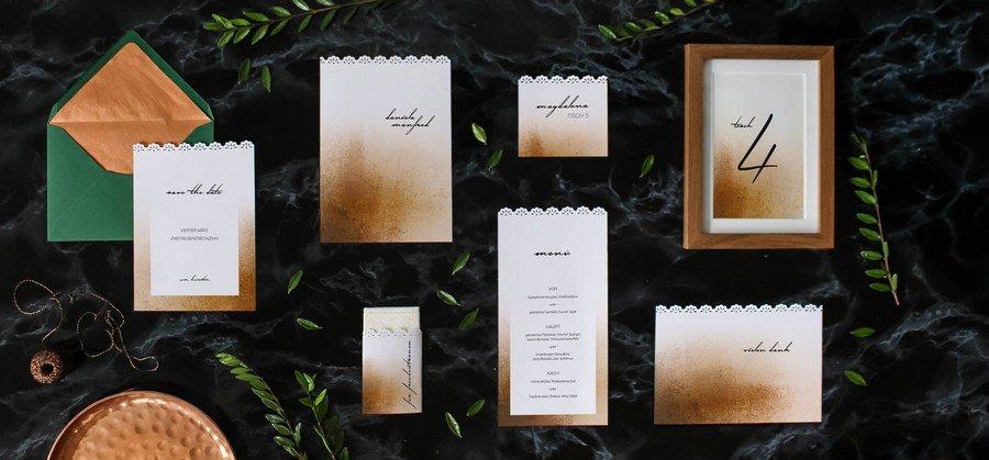 Papeterieset für eure Hochzeit im Stil der 20er Jahre oder ganz modern mit Kupfer und Metallic